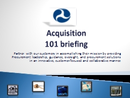 Acquisition   101 briefing PowerPoint PPT Presentation