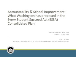 Accountability  & School Improvement: What Washington has proposed in the