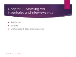 Chapter 11 Assessing Via Inventories and Interviews