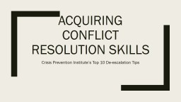 Acquiring Conflict Resolution Skills