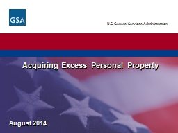 August 2014 Acquiring Excess Personal Property