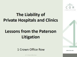 The Liability of Private Hospitals and Clinics