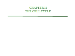 CHAPTER 12 THE CELL CYCLE PowerPoint PPT Presentation