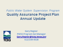 Public Water System Supervision Program