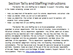 Section Tally and Staffing Instructions