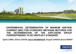 EXPERIMENTAL DETERMINATION OF MINIMUM IGNITION CURRENT (MIC) FOR HYDROGEN /METHANE MIXTURES FOR THE