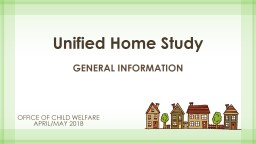 Unified Home Study Office of Child welfare