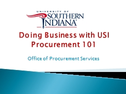 Doing Business with USI Procurement 101