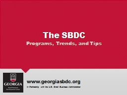 The SBDC Programs, Trends, and Tips