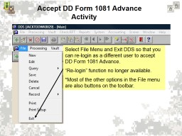 Accept DD Form 1081  Advance