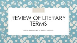 Review of Literary Terms