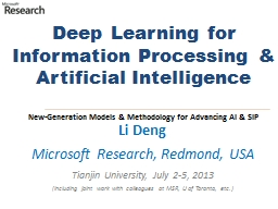Deep Learning for  Information Processing & Artificial Intelligence PowerPoint PPT Presentation