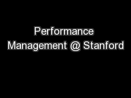 Performance Management @ Stanford
