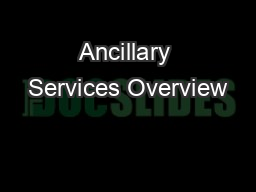 Ancillary Services Overview