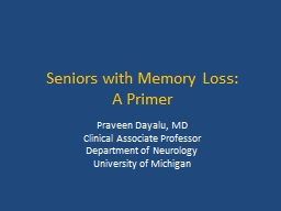 Seniors with Memory Loss:
