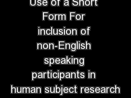Use of a Short Form For inclusion of non-English speaking participants in human subject research