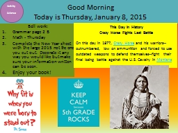 Good Morning Today is  Thursday PowerPoint PPT Presentation