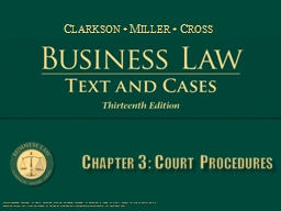 Chapter 3: Court Procedures PowerPoint PPT Presentation