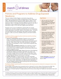 fact sheet Policies and Programs to Address Drug-Exposed