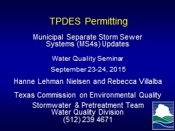 TPDES Permitting Municipal Separate Storm Sewer