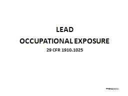 LEAD OCCUPATIONAL EXPOSURE