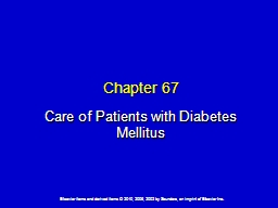 Chapter 67 Care of Patients with Diabetes Mellitus