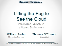 Lifting the Fog to  See the Cloud PowerPoint PPT Presentation