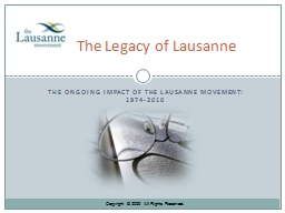 The ongoing impact of the Lausanne Movement: 1974-2010