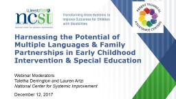 Harnessing the Potential of Multiple Languages & Family Partnerships in Early Childhood Interve