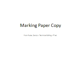Marking Paper Copy From Rude, Carolyn. Technical Editing, 4