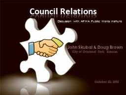 Council Relations Discussion with