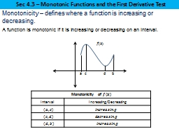 Sec 4.3 � Monotonic Functions and the First Derivative Test