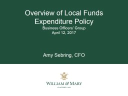 Overview of Local Funds Expenditure Policy PowerPoint PPT Presentation