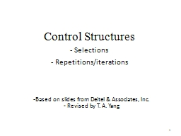 Control Structures  Selections