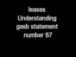 leases Understanding gasb statement number 87