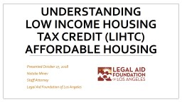 UNDERSTANDING Low Income housing Tax Credit (LIHTC)