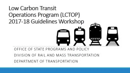 Low Carbon Transit  Operations Program (LCTOP)