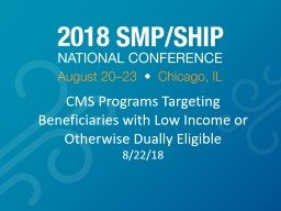 CMS Programs Targeting Beneficiaries with Low Income or Otherwise Dually Eligible
