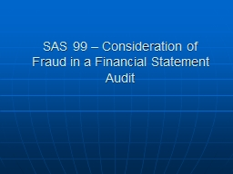 SAS 99 – Consideration of