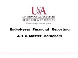 End-of-year Financial Reporting