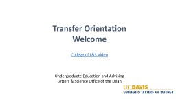 Transfer Orientation Welcome