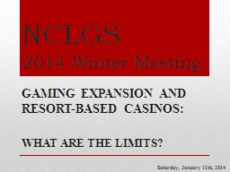 NCLGS 2014 Winter Meeting