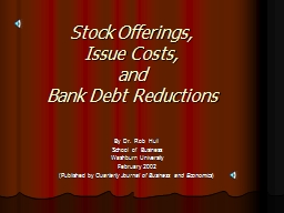 Stock Offerings, Issue Costs,