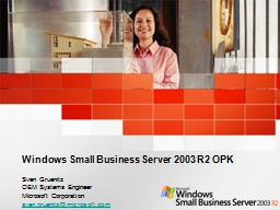 Windows Small Business Server 2003 R2 OPK