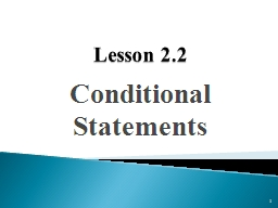 Lesson  2.2 Conditional