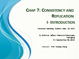 Chap 7: Consistency and Replication