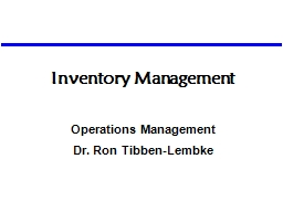 Inventory Management Operations Management