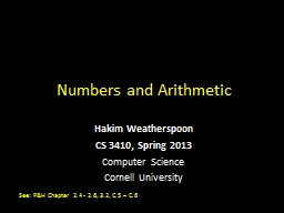 Numbers and Arithmetic Hakim Weatherspoon