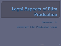 Legal Aspects of Film Production