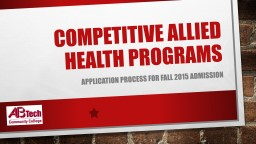 Competitive Allied Health Programs